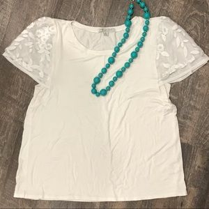 Green Envelope White T-shirt w/ Decorative Sleeves